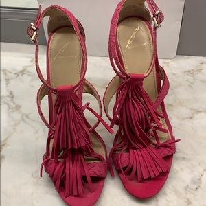 B Brian Atwood hot pink fringed sandals